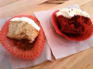 Two half-eaten cupcakes