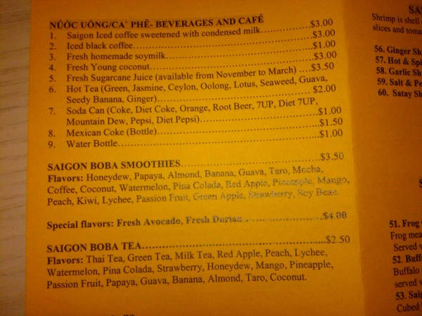 Saigon Pho Drink Menu