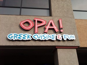 Sign at Opa!