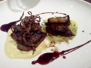 Buffalo tenderloin, liquid polenta, short rib-porcini stack, Starkey's squash threads, Howell Mountain Jus